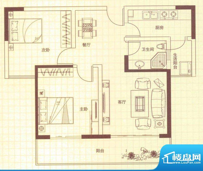 润城户型图B户型 2室2厅1卫1厨面积:88.00平米