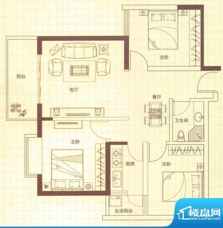 润城户型图C户型 3室2厅1卫1厨面积:89.00平米