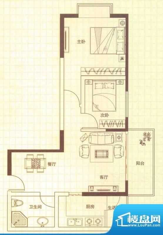 润城户型图D户型 2室2厅1卫1厨面积:75.00平米