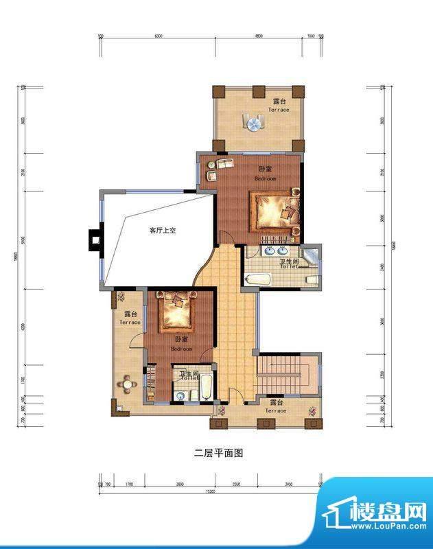 云南华侨城户型图天麓二区B户型面积:251.00平米