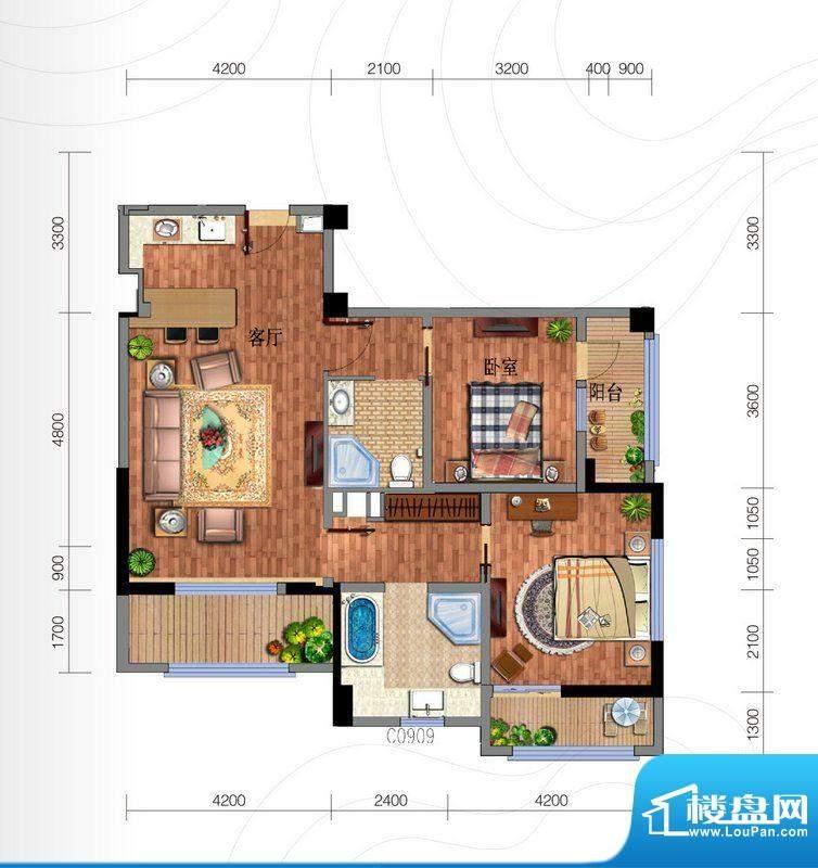 云南华侨城户型图群樱荟公寓套面积:122.00平米