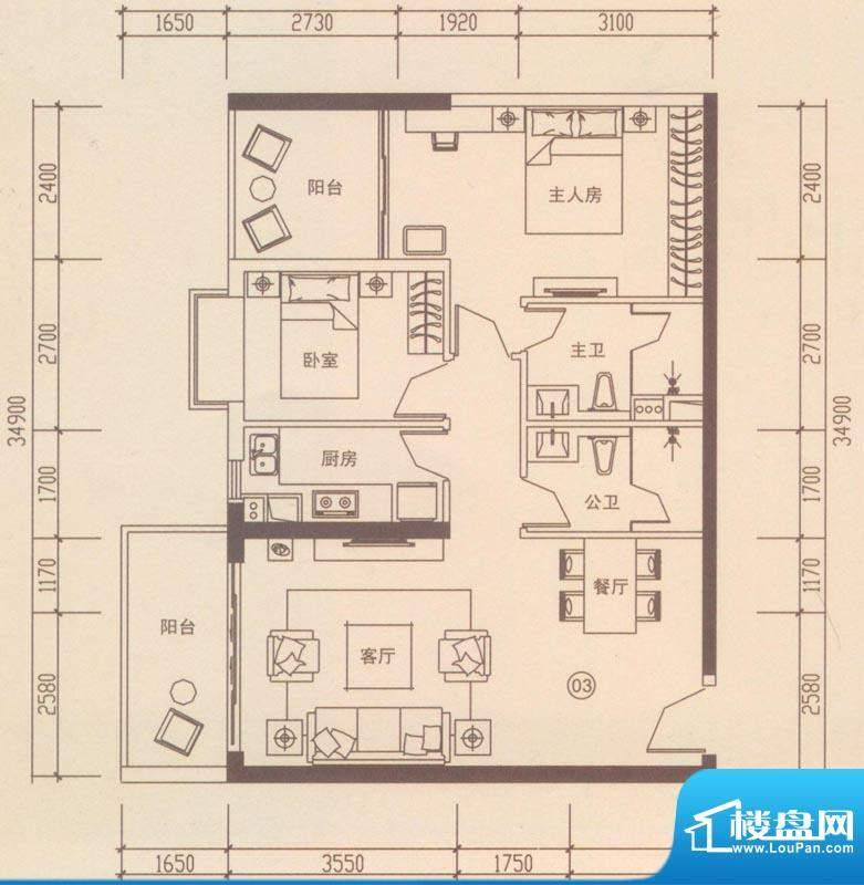 海伦国际户型图A303户型 2室2厅面积:90.93平米