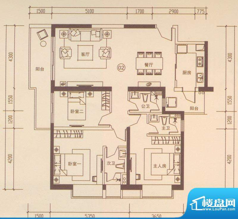 海伦国际户型图A402户型 3室2厅面积:135.20平米