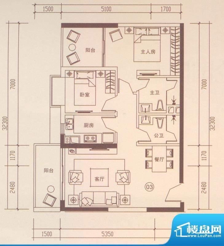 海伦国际户型图A403户型 2室2厅面积:86.79平米