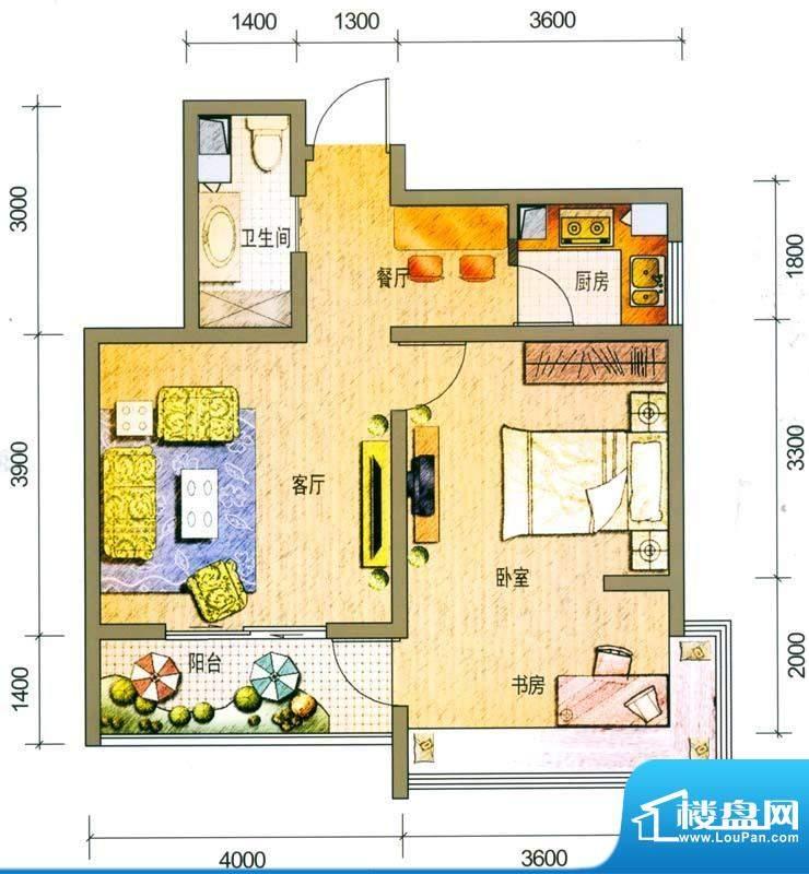 云南映象户型图H1户型 2室2厅1面积:64.00平米