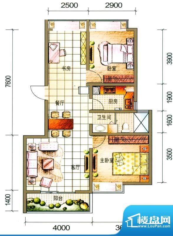 云南映象户型图K1户型 3室2厅1面积:91.00平米
