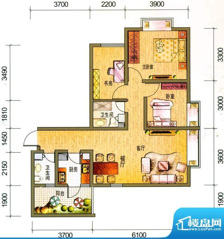 云南映象户型图L2户型 3室2厅2面积:92.00平米
