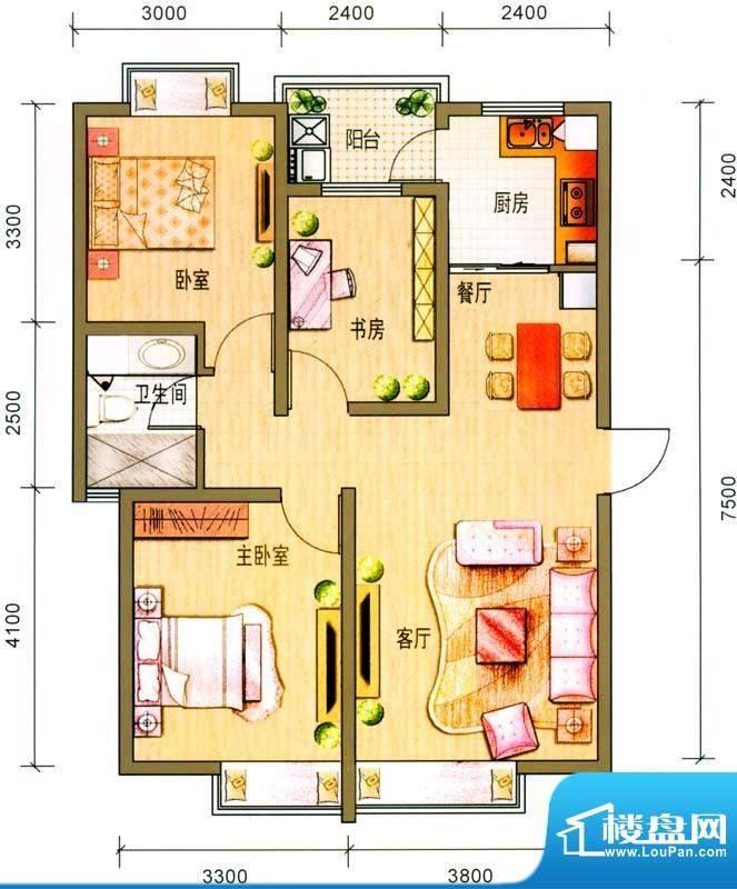 云南映象户型图N1户型 3室2厅1面积:91.00平米