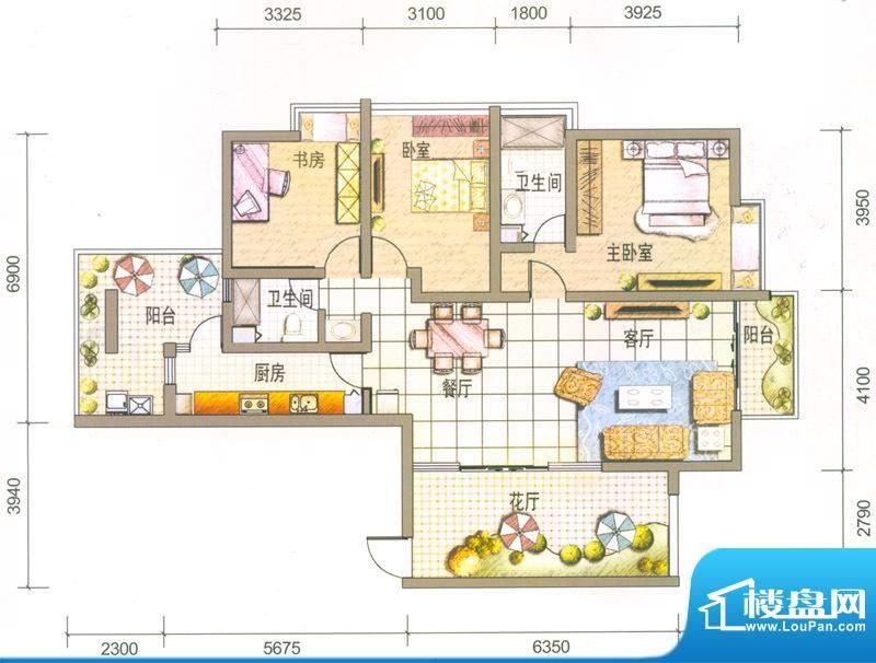 云南映象户型图Q1户型 3室2厅2面积:142.00平米