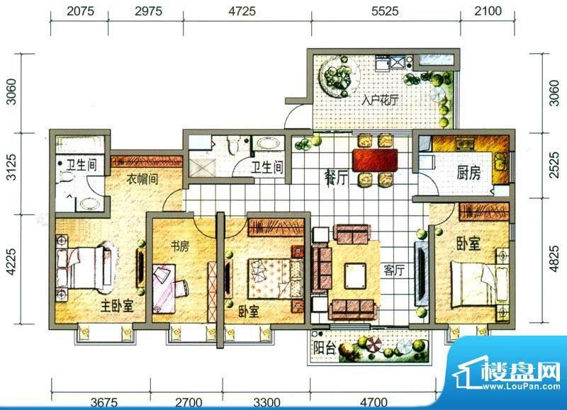 云南映象户型图T1户型 4室2厅2面积:168.00平米