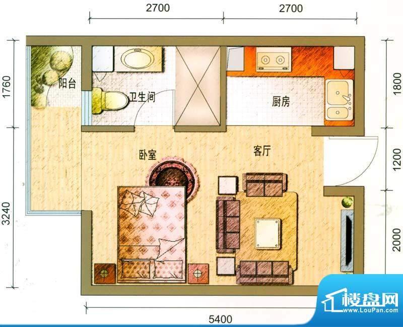 云南映象户型图A1户型 1室1厅1面积:40.00平米
