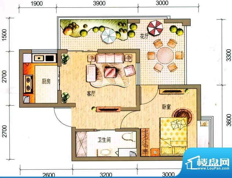 云南映象户型图G1户型 1室1厅1面积:52.00平米