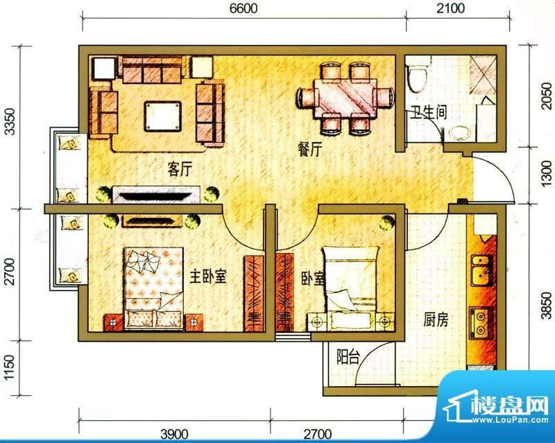 云南映象户型图G3户型 2室2厅1面积:68.00平米
