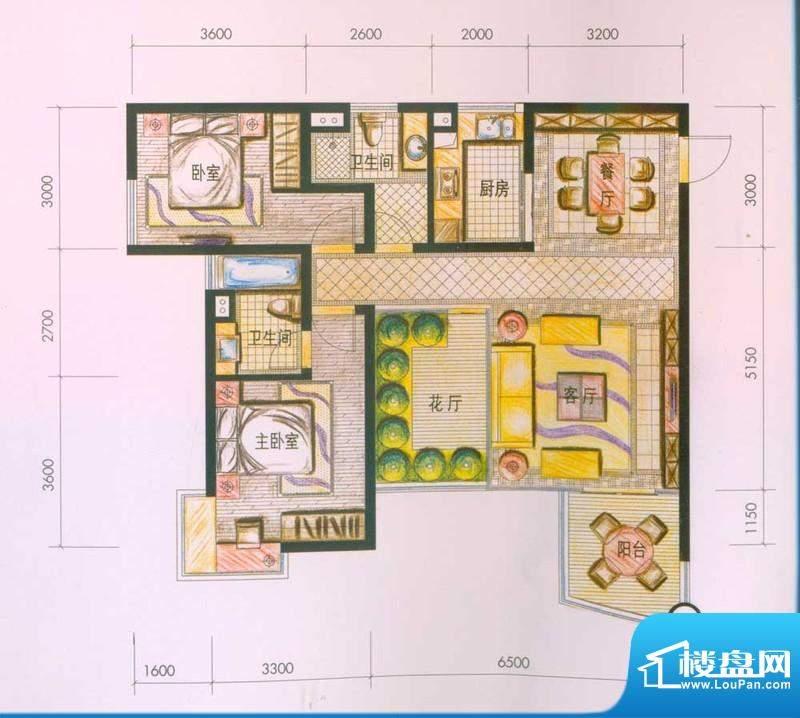 云南映象户型图D2户型 2室2厅2面积:107.00平米