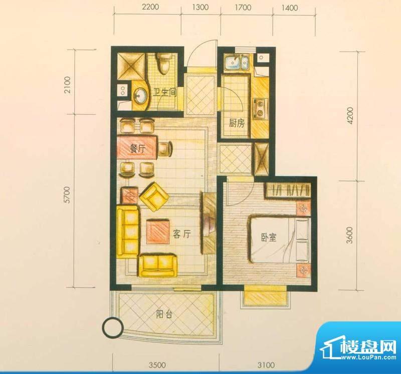 云南映象户型图E1户型 1室1厅1面积:59.00平米