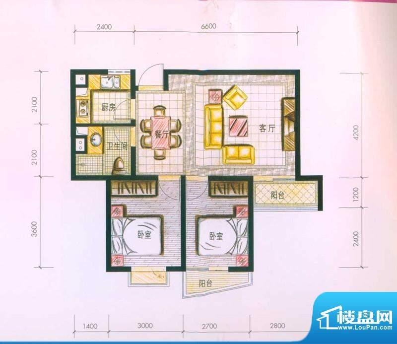 云南映象户型图F2户型 2室2厅1面积:74.00平米