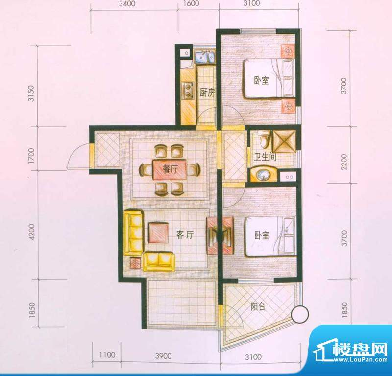 云南映象户型图G2户型 2室2厅1面积:84.00平米