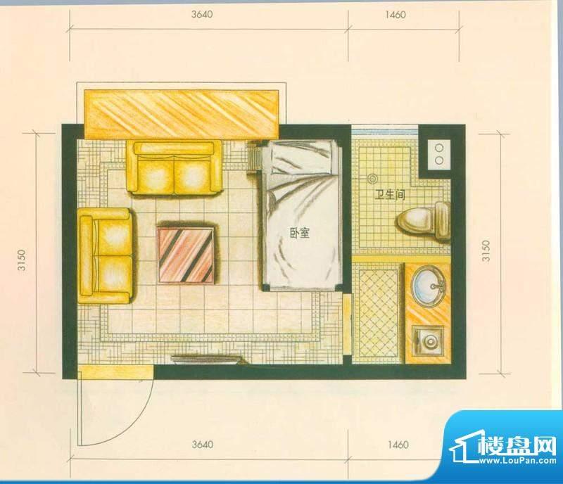 云南映象户型图H2户型 1室1卫面积:22.00平米
