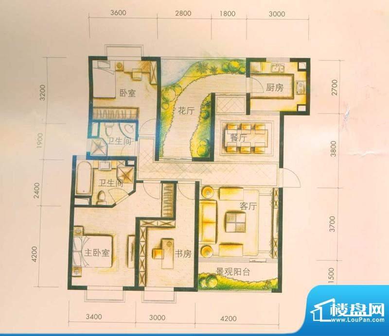 云南映象户型图J户型 3室2厅2卫面积:130.00平米