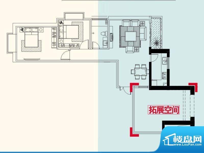 红星国际广场户型图b1户型 2室面积:92.62平米