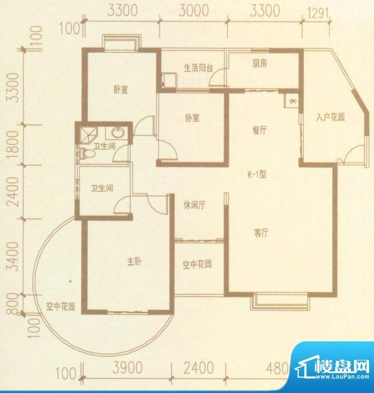 奥林匹克记者村户型图K1-01户型面积:151.75平米