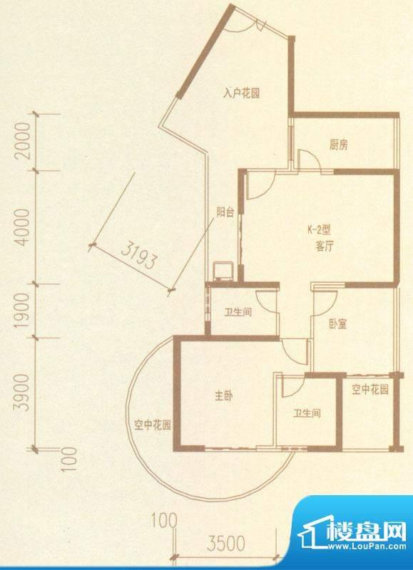 奥林匹克记者村户型图K2-02户型面积:104.95平米