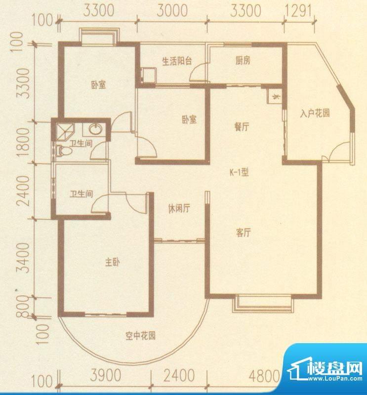 奥林匹克记者村户型图K1-01户型面积:147.65平米