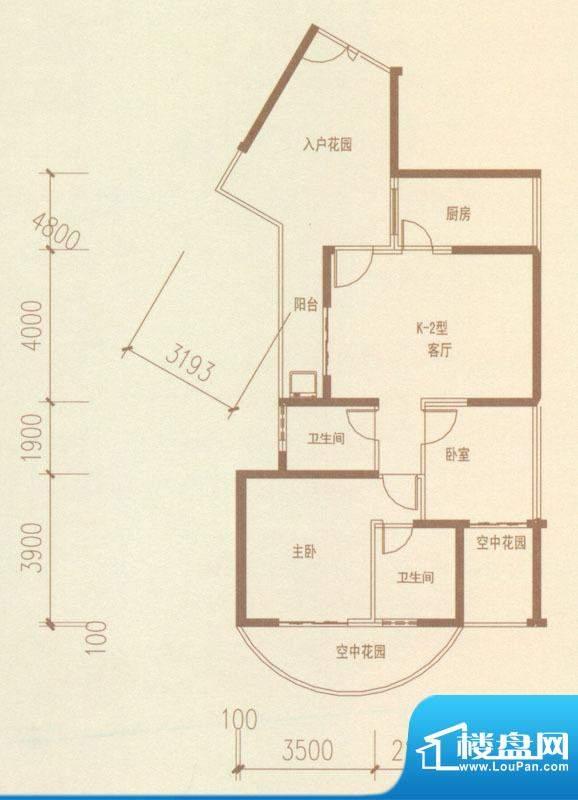 奥林匹克记者村户型图K2-02户型面积:102.24平米