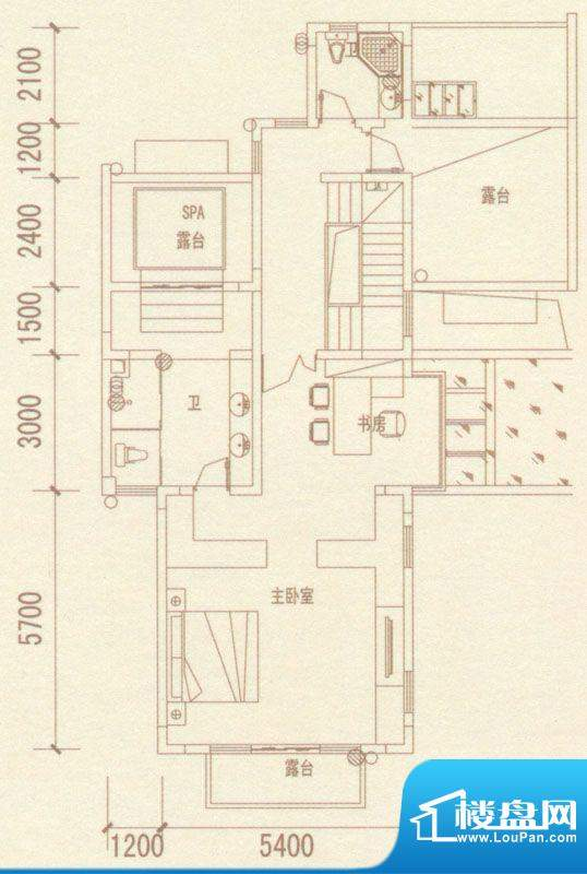 奥林匹克记者村户型图别墅J户型面积:334.57平米