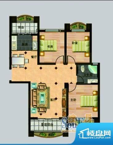 玉秀湾户型图10 3室面积:123.00m平米