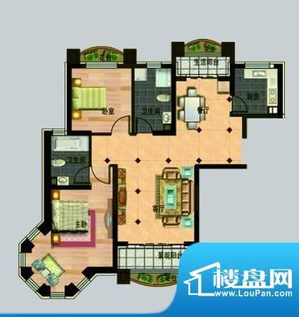 玉秀湾户型图1 2室2面积:114.00m平米