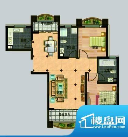 玉秀湾户型图2 2室2面积:105.00m平米