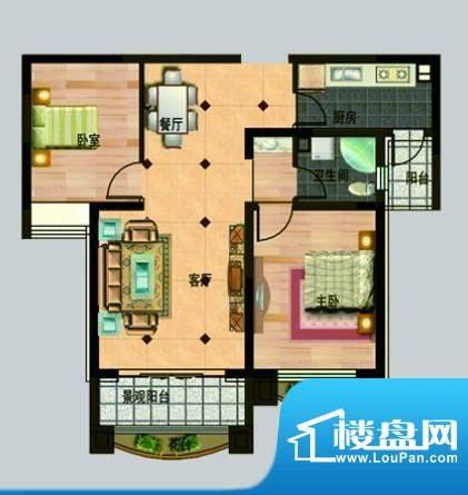 玉秀湾户型图3 2室2面积:95.00m平米