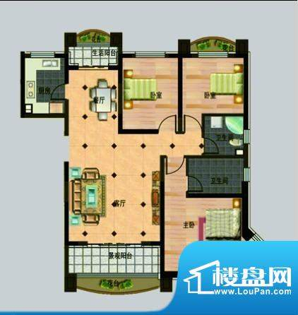 玉秀湾户型图5 3室2面积:144.00m平米