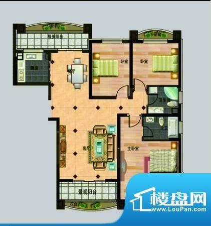 玉秀湾户型图6 3室2面积:163.00m平米