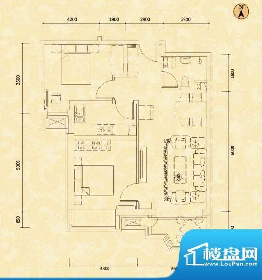 天玺国际A户型 2室2面积:86.31m平米