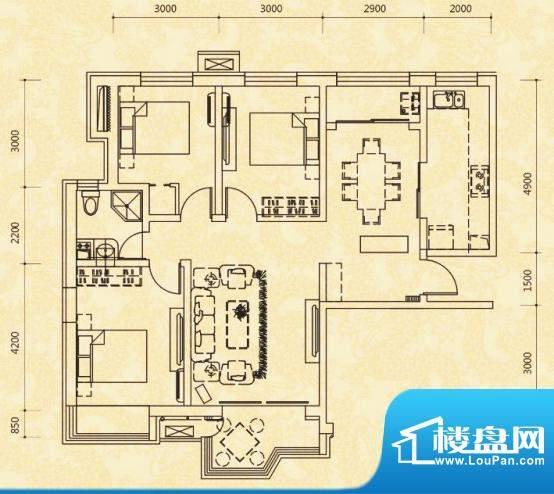 天玺国际D户型 3室2面积:127.54m平米