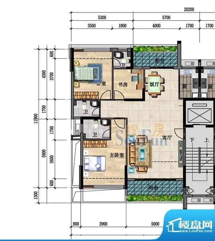 中凯豪庭4、5栋1、2面积:119.00m平米