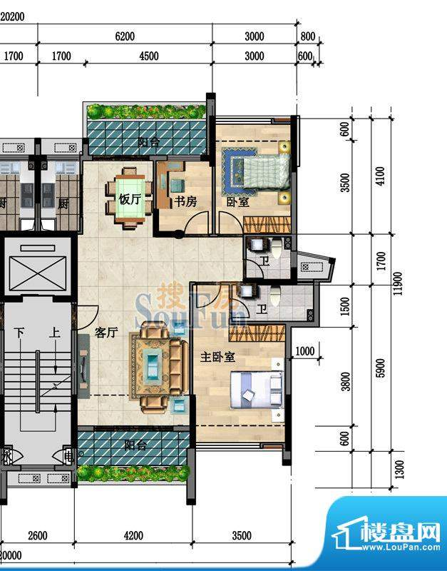 中凯豪庭4、5栋1、2面积:101.50m平米