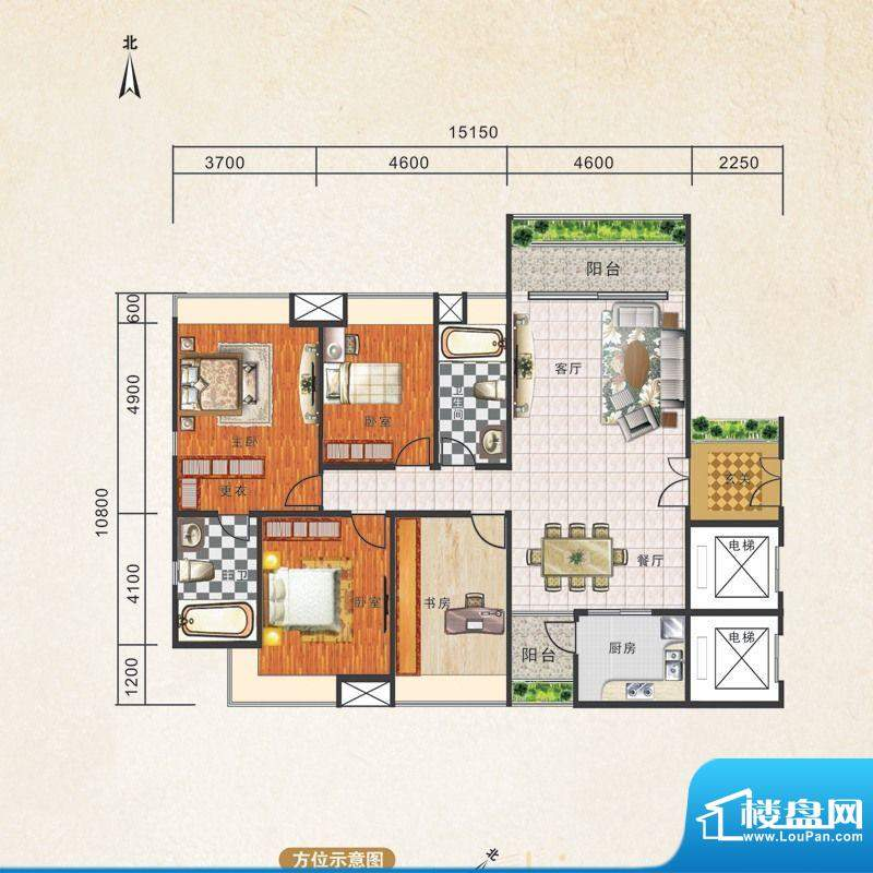 锦江国际新城1/2/3栋面积:136.00m平米