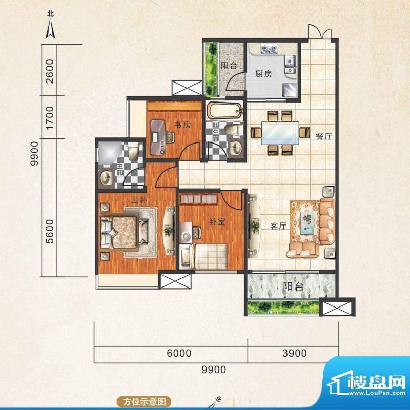 锦江国际新城1/2/3栋面积:92.00m平米