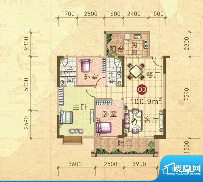 汇侨新城13栋标准层面积:100.90m平米