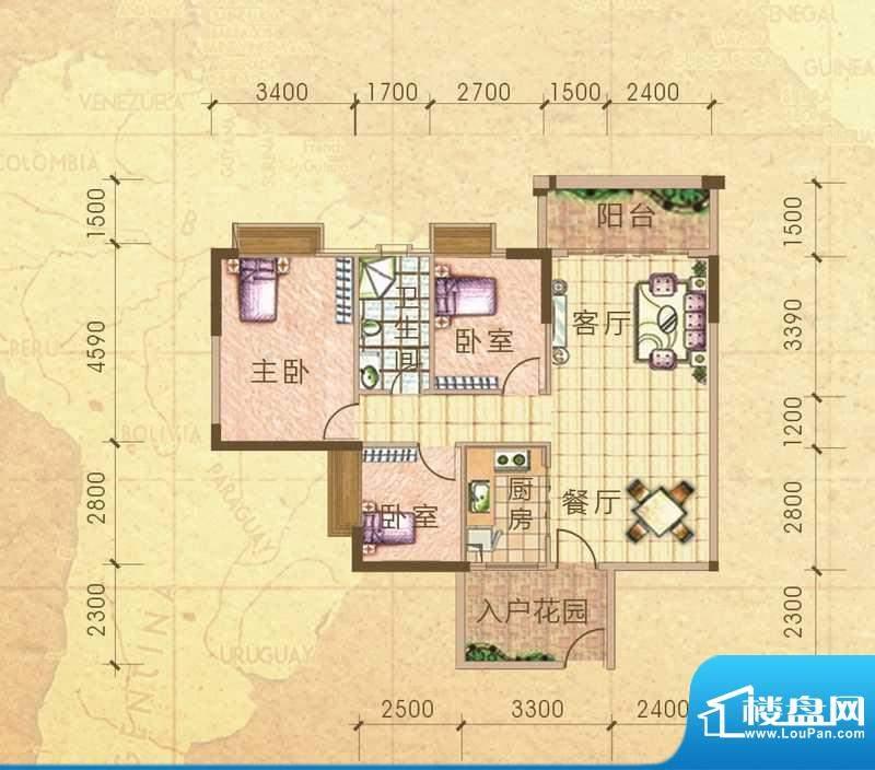 汇侨新城13栋标准层面积:95.40m平米