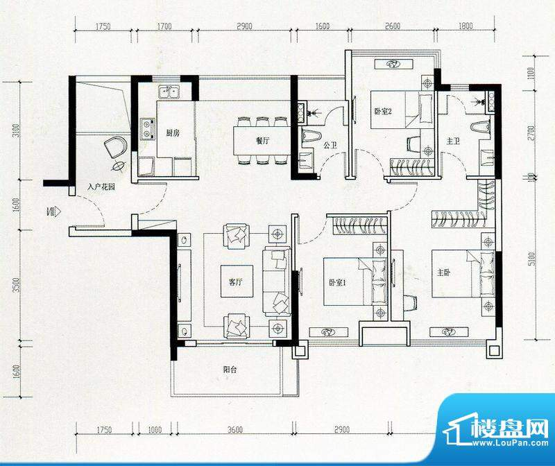 海伦湾江景洋房2栋0面积:107.00m平米
