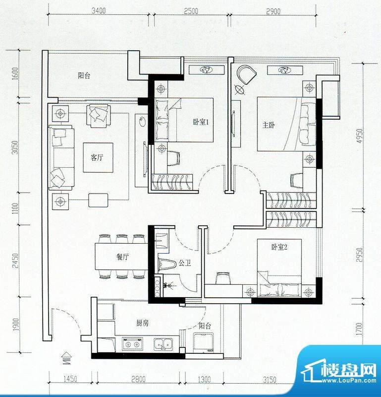 海伦湾江景洋房2栋0面积:96.00m平米