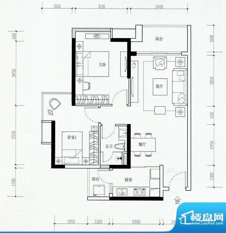海伦湾江景洋房2栋0面积:79.00m平米