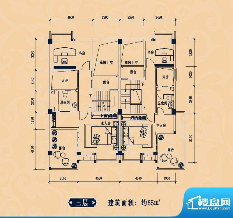 雅堤公馆合院户型3层面积:65.00m平米