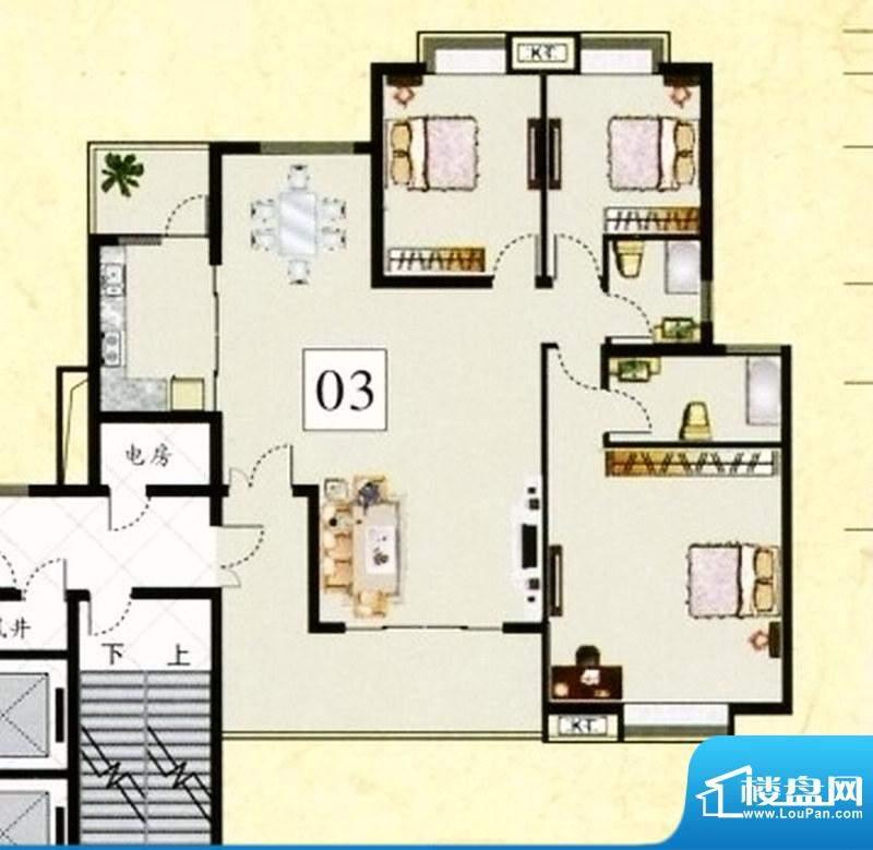 鹤山广场1栋03单元标面积:145.71m平米