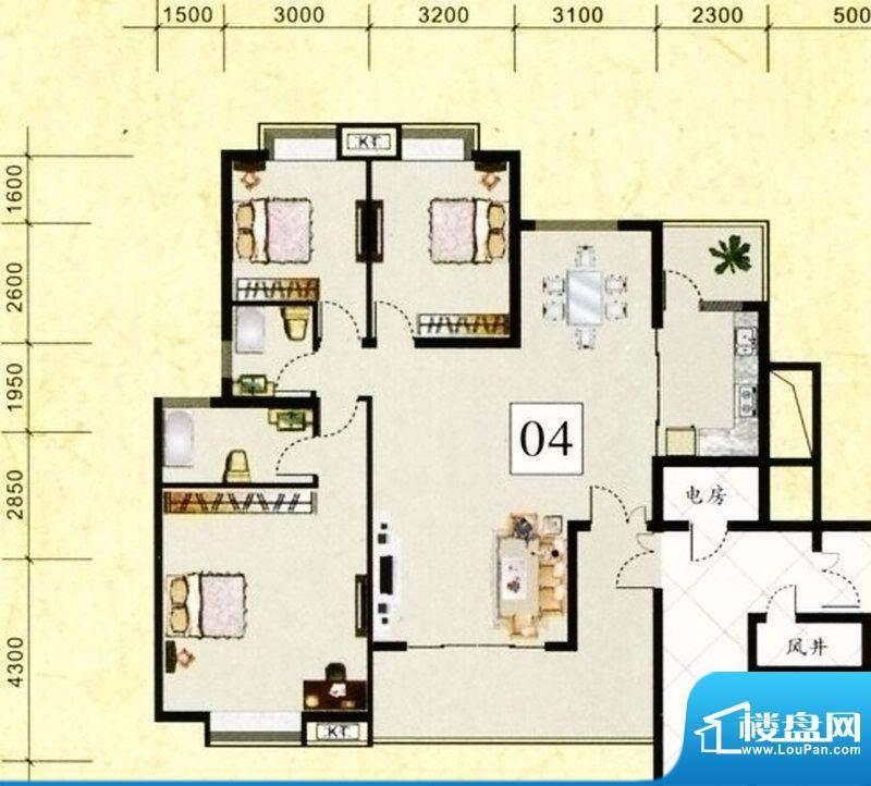 鹤山广场2栋 04单元面积:145.71m平米