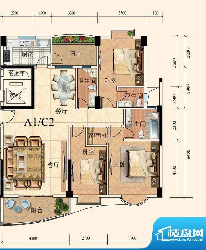 育德上院A座01单元标面积:139.00m平米